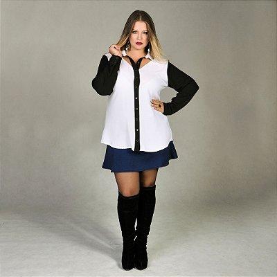 Camisa Plus Size de Crepe com Tule