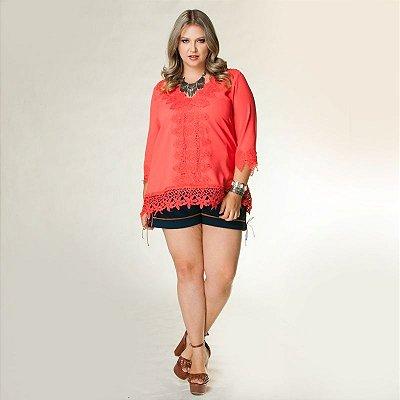 Shorts Plus Size de tweed com camurça