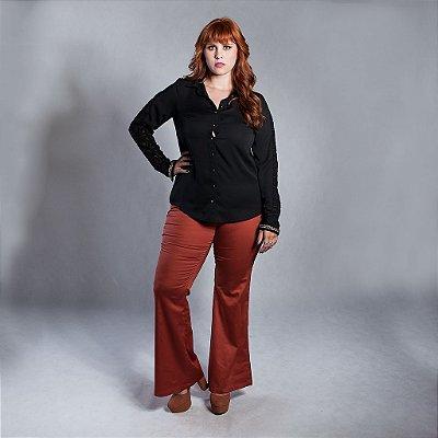 Camisa Com Punho Bordado - Plus Size