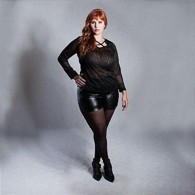 Blusa Malha com Detalhe Bordado - Plus Size