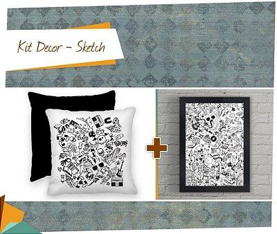 Kit Decor Sketch - Almofada + Quadro 20 x 30 cm