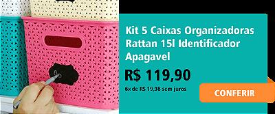 Kit 5 Caixas Organizadoras Rattan 15l Identificador Apagavel