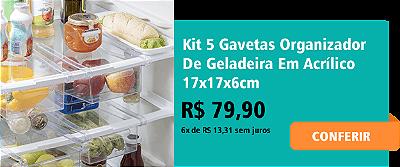 Kit 5 Gavetas Organizador De Geladeira Em Acrílico 17x17x6cm