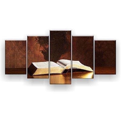 Quadro Decorativo Bíblia Jesus Cristo 5pc 129x61 Sala Quarto