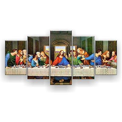 Quadro Decorativo Última Santa Ceia 5pc 129x61 Sala Quarto