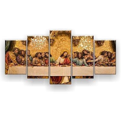 Quadro Decorativo A Última Santa Ceia Gold Hd 129x61