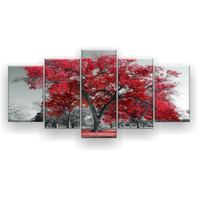 Quadro Decorativo Árvore Grande Vermelha 129x61 5pc Sala