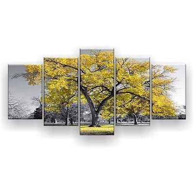 Quadro Decorativo Árvore Grande Amarela 129x61 5pc Sala