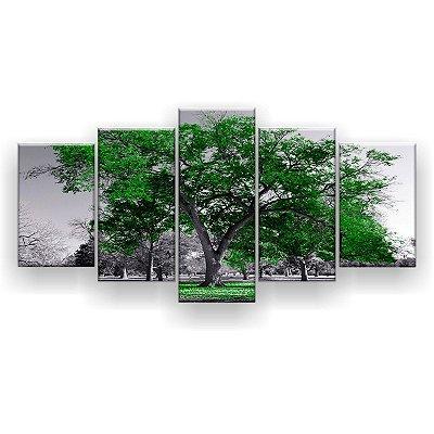 Quadro Decorativo Árvore Grande Verde Bandeira 129x61 5pc Sala