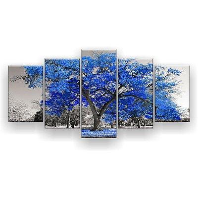 Quadro Decorativo Árvore Grande Azul 129x61 5pc Sala