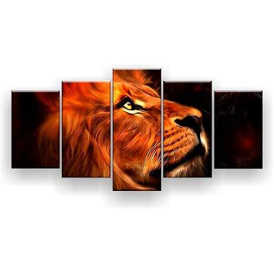 Quadro Decorativo Leão Perfil Aquarela Hd 129x61 Quarto Sala