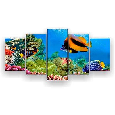 Quadro Decorativo Corais Peixes Oceano Hd 129x61 Quarto Sala