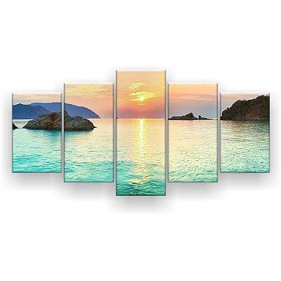 Quadro Decorativo Pôr do Sol Praia lindo 129x61 5pc Sala