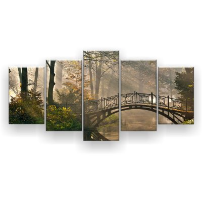 Quadro Decorativo Ponte na Floresta 129x61 5pc Sala