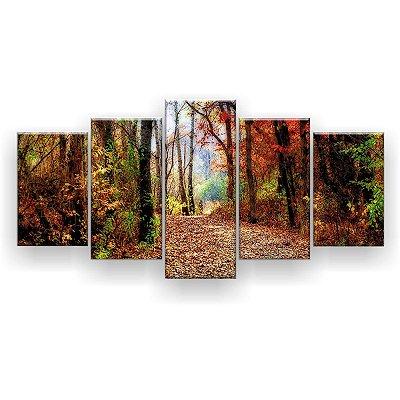 Quadro Decorativo Caminho da Floresta 129x61 5pc Sala