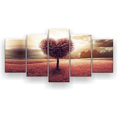 Quadro Decorativo Arvore de Coração 129x61 5pc Sala