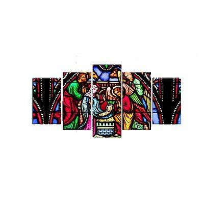 Quadro Decorativo Vitral Menino Jesus 129x61 5pc Sala