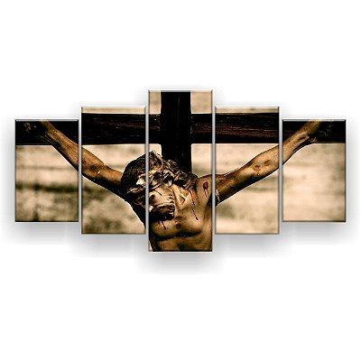 Quadro Decorativo Jesus Crucificado 129x61 5pc Sala