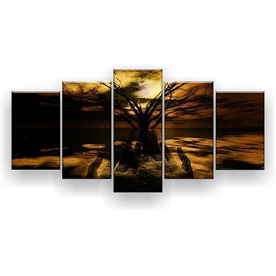 Quadro Decorativo Mão de Deus Arvore Seca 129x61 5pc Sala