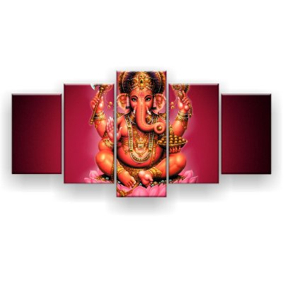 Quadro Decorativo Ganesha Vermelha 129x61 5pc Sala