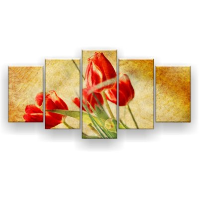 Quadro Decorativo Ramo Tulipas Vermelhas 129x61 5pc Sala