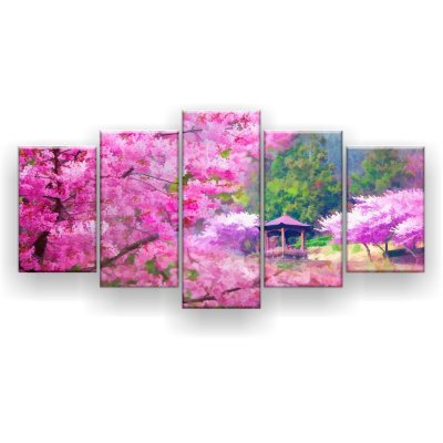 Quadro Decorativo Pintura Pessegueira Rosa China 129x61 5pc Sala