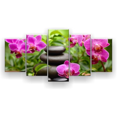 Quadro Decorativo Orquídeas Fúcsia Pedras Pretas 129x61 5pc Sala