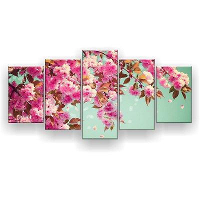 Quadro Decorativo Flor De Primavera Sacura 129x61 5pc Sala