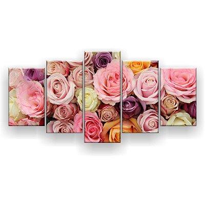 Quadro Decorativo Buquê Rosas Pastéis 129x61 5pc Sala