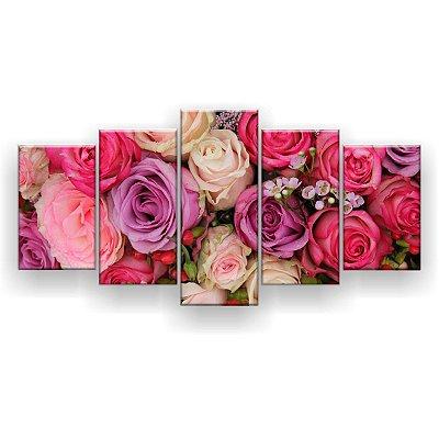 Quadro Decorativo Buquê Rosas Casamento 129x61 5pc Sala