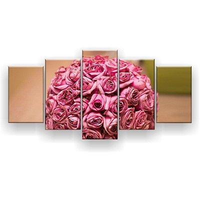 Quadro Decorativo Buquê Rosas 129x61 5pc Sala