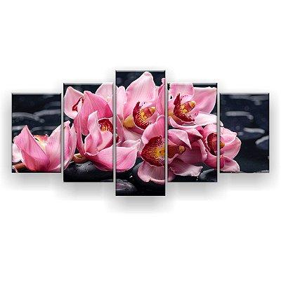 Quadro Decorativo Orquídeas Fundo Preto 129x61 5pc Sala