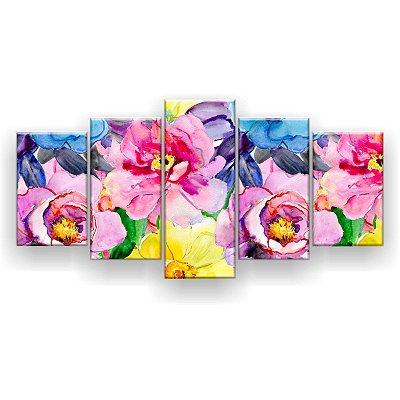 Quadro Decorativo Flores Coloridas Pattern 129x61 5pc Sala