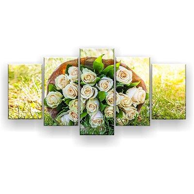 Quadro Decorativo Buquê Rosas Brancas 129x61 5pc Sala