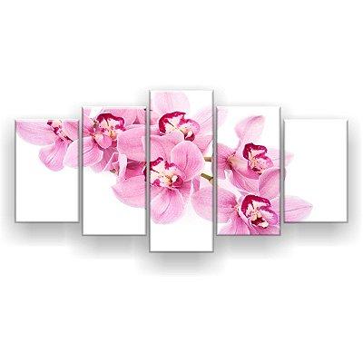 Quadro Decorativo Orquídea Rosa Claro 129x61 5pc Sala