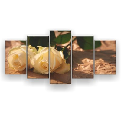 Quadro Decorativo Rosas Brancas 129x61 5pc Sala