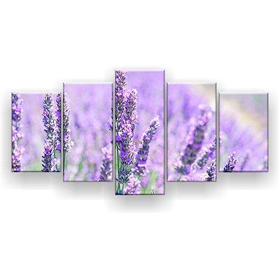 Quadro Decorativo Flor Lilás Grama 129x61 5pc Sala