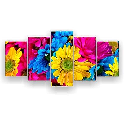 Quadro Decorativo Margaridas Coloridas 129x61 5pc Sala