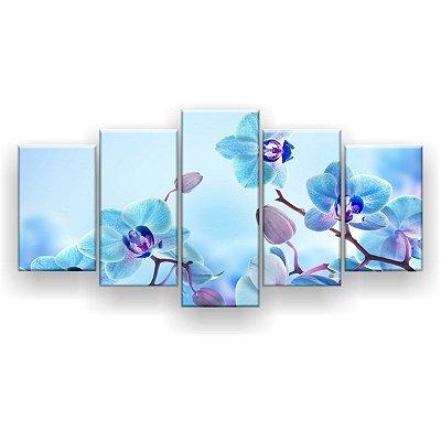 Quadro Decorativo Orquídeas Azul  129x61 5pc Sala