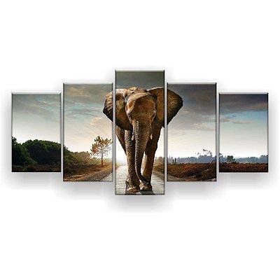 Quadro Decorativo Elefante No Caminho 129x61 5pc Sala