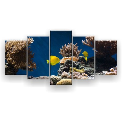 Quadro Decorativo Peixes Amarelos Oceano Escuro 129x61 5pc Sala