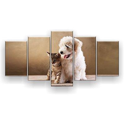 Quadro Decorativo Cachorro E Gatinho Encostados 129x61 5pc Sala