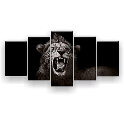 Quadro Decorativo Leão Presas Preto Branco 129x61 5pc Sala