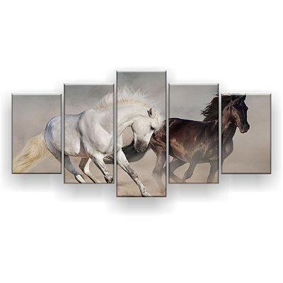 Quadro Decorativo Dois Cavalos Correndo 129x61 5pc Sala