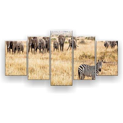 Quadro Decorativo Zebra Elefantes 129x61 5pc Sala