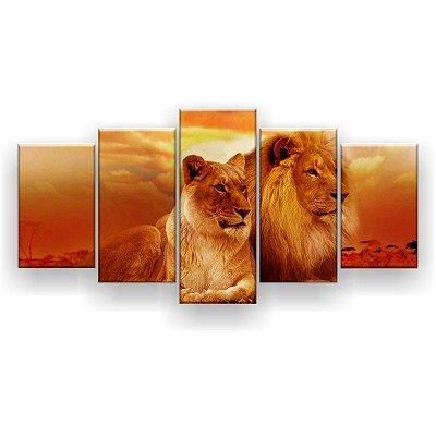 Quadro Decorativo Onça E Leão 129x61 5pc Sala