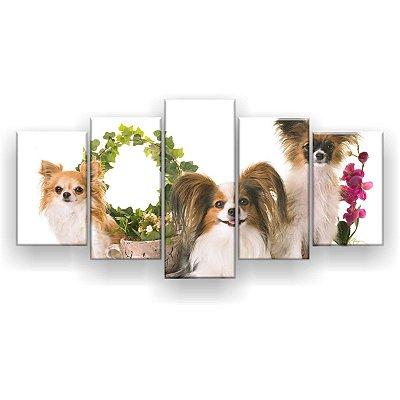 Quadro Decorativo Três Chihuahua 129x61 5pc Sala