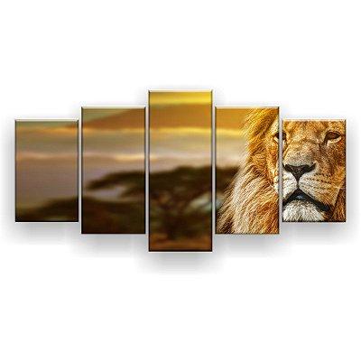Quadro Decorativo Leão Árvore Desfocada 129x61 5pc Sala
