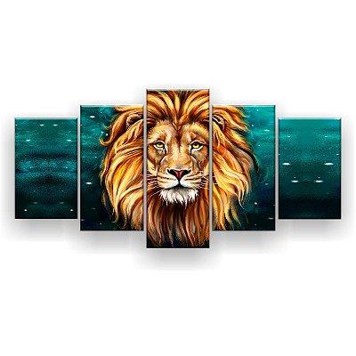 Quadro Decorativo Desenho Leão Astrologia 129x61 5pc Sala