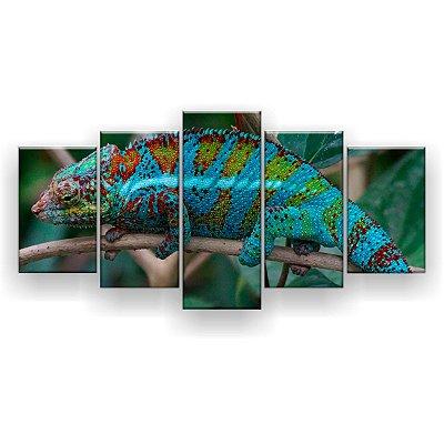 Quadro Decorativo Camaleão Turquesa 129x61 5pc Sala